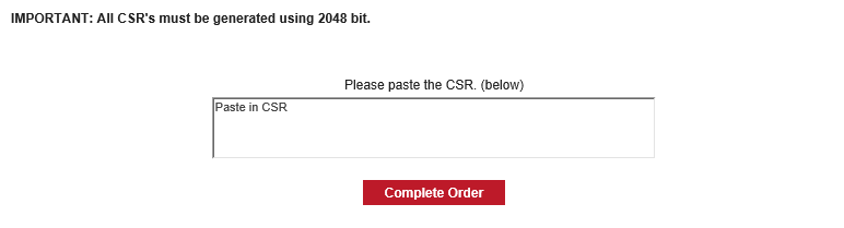 CSR Code Paste section
