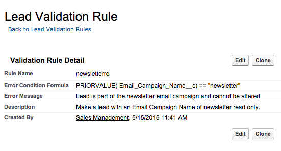 Read only Salesforce lead validation rule